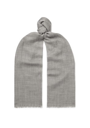 Begg & Co - Fringed Polka-dot Cashmere Scarf - Gray