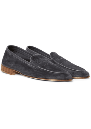Edward Green - Polperro Leather-trimmed Suede Penny Loafers - Gray