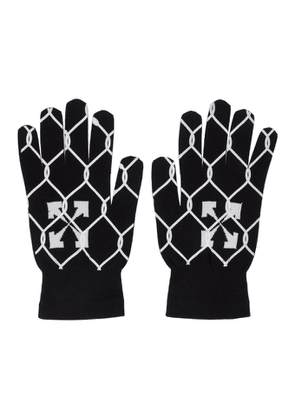 Off-White Black and White Knit Fence Gloves