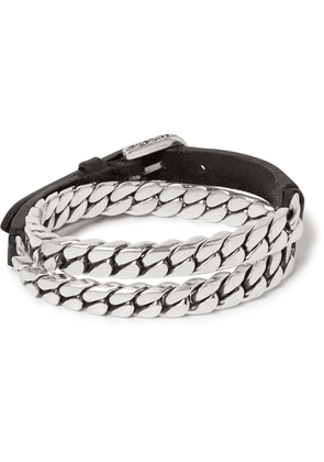 Gucci - Leather And Burnished Sterling Silver Wrap Bracelet - Silver