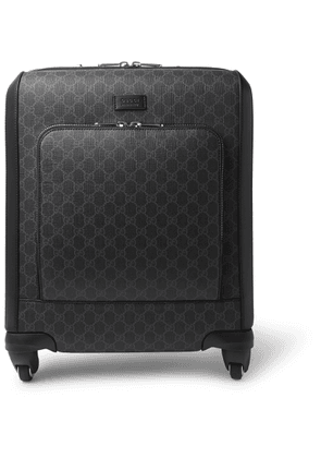 Gucci - Gran Turismo Leather-trimmed Monogrammed Coated-canvas Carry-on Suitcase - Black