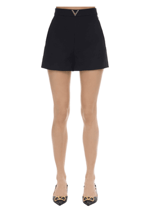 Metal V Logo Crepe Couture Shorts