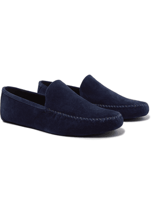 Loro Piana - Maurice Cashmere-lined Suede Slippers - Blue