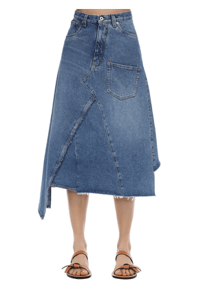 Asymmetric Cotton Denim Midi Skirt