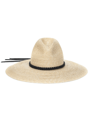 Straw leather-trimmed hat