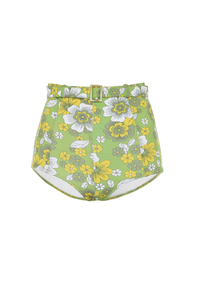 Floral belted high-rise bikini bottoms