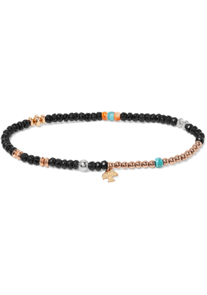 Peyote Bird - Onyx, Turquoise, Oyster, Sterling Silver And Gold-fill Bracelet - Black