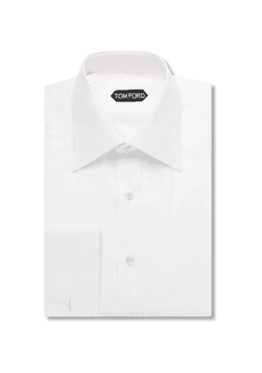 TOM FORD - White Slim-fit Pleated Bib-front Cotton Shirt - White