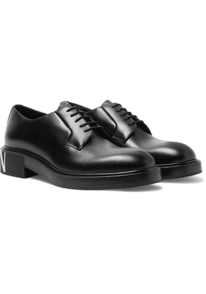 VALENTINO - Valentino Garavani Logo-Print Leather Derby Shoes - Men - Black