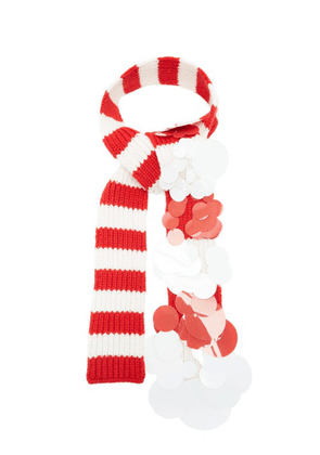 Prada - Sequinned Striped Cashmere Scarf - Womens - Red