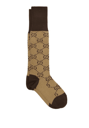 Gucci - Gg-intarsia Cotton-blend Socks - Womens - Brown Multi
