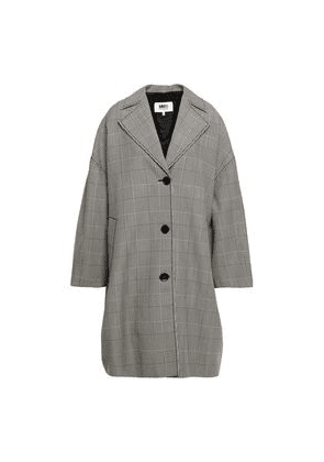 Mm6 Maison Margiela Oversized Prince Of Wales Checked Wool-blend Coat Woman Black Size 36