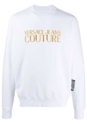 Versace Jeans Couture metallic embroidered logo cotton sweatshirt -