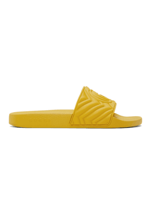 Gucci Yellow Quilted GG Pool Slides