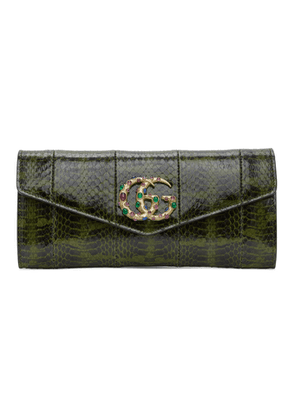 Gucci Green Snakeskin Broadway Clutch
