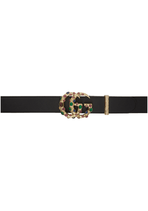 Gucci Black Double G Crystal Belt