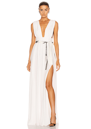 Saint Laurent V Neck Long Dress in Craie - White. Size 38 (also in 40).