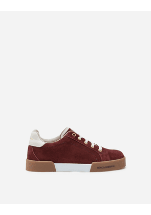 Dolce & Gabbana Shoes - SUEDE PORTOFINO LIGHT SNEAKERS BURGUNDY