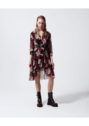 The Kooples - Long formal dress with frills & floral print - WOMEN