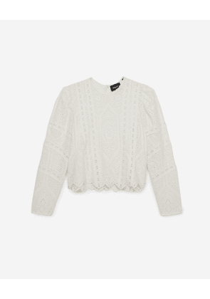 The Kooples - Ecru crew-neck top with broderie anglaise - WOMEN