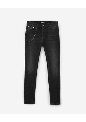 The Kooples - Skinny grey vintage jeans w/removable chain - MEN