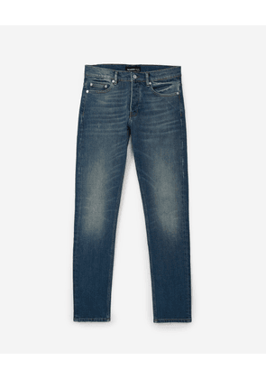 The Kooples - Faded ripped blue jeans with leather tag - MEN
