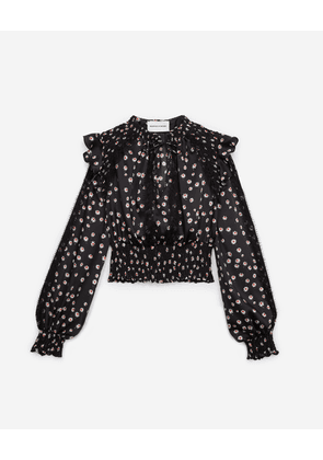 The Kooples - Floral printed rock-style top with smocking - WOMEN