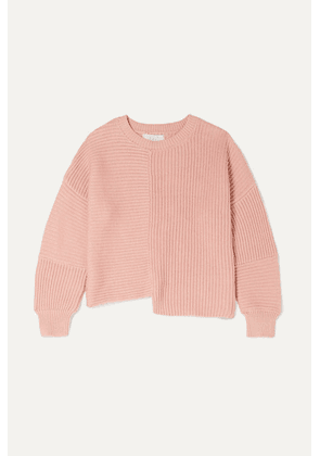 Stella McCartney Kids - Asymmetric Ribbed Organic Cotton And Merino Wool-blend Sweater - Pink