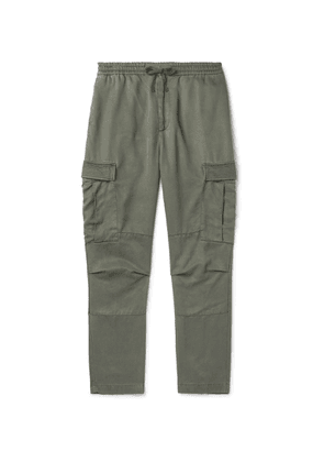 OFFICINE GÉNÉRALE - Tapered Garment-Dyed Lyocell Cargo Trousers - Men - Green