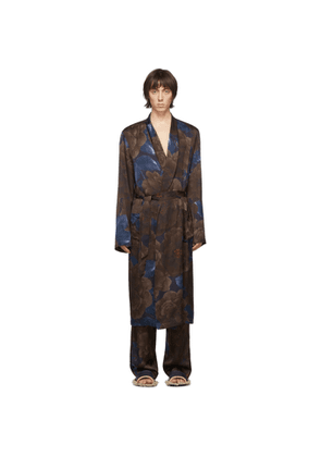 Dries Van Noten Navy and Brown Satin Floral Robe