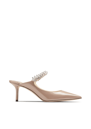 BING 65 Ballet-Pink Patent Leather Mules with Crystal Strap