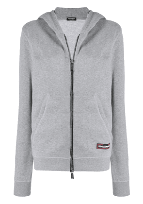 Dsquared2 logo tag zipped hoodie - Grey