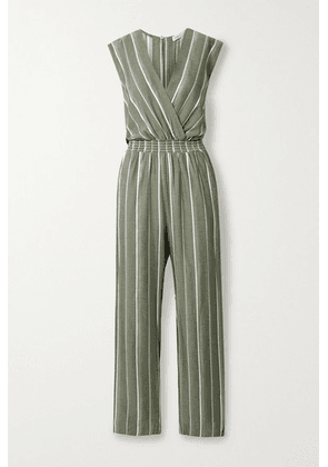 Maje - Embroidered Striped Woven Jumpsuit - Army green