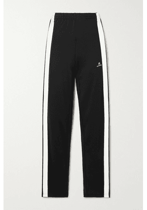 Balenciaga - Striped Embroidered Tech-jersey Track Pants - Black