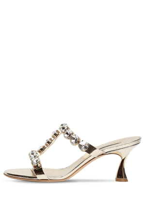 60mm Embellished Metallic Leather Sandal