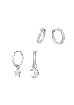 Silver Starry Night Earring Set