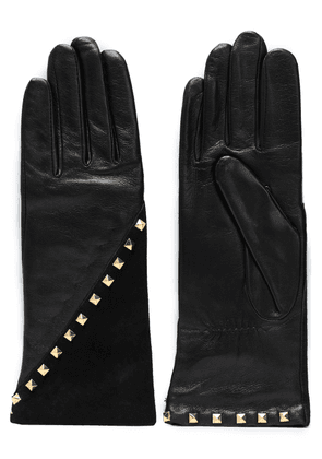 Agnelle Studded Leather And Suede Gloves Woman Black Size 7.5