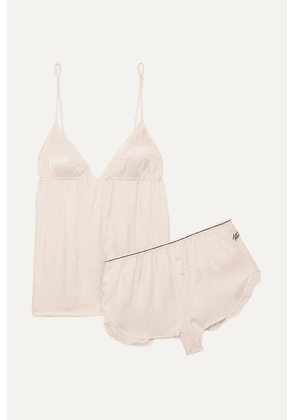 Love Stories - Lotty And Mae Chiffon-trimmed Embroidered Satin Pajama Set - Off-white