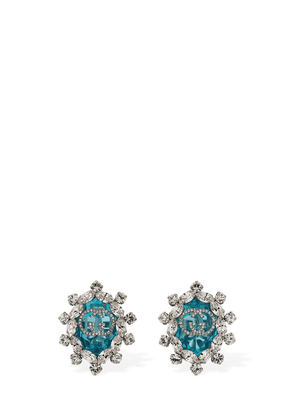 Gg Interlocking Crystal Clip-on Earrings