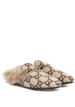 Princetown fur-lined wool-blend slippers
