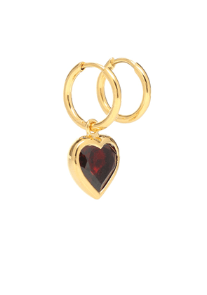 Heart Garnet gold-plated hoop earrings