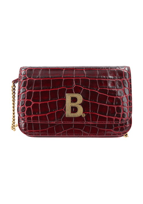 B embossed leather purse with chain