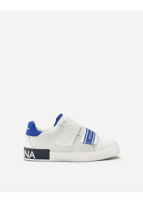 Dolce & Gabbana Shoes - PORTOFINO SNEAKERS IN CALFSKIN WITH LOGOED GROSGRAIN WHITE/BLUE