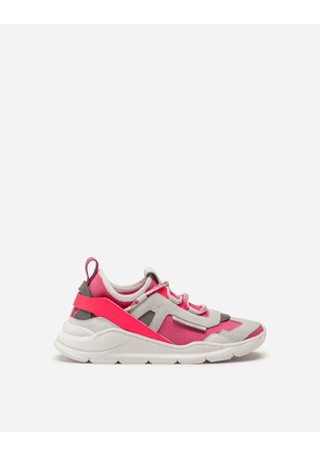 Dolce & Gabbana Shoes - DAYMASTER SNEAKERS IN MIXED MATERIALS FUCHSIA/WHITE