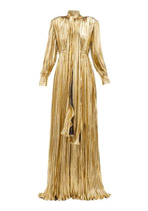 Gucci - Pussy-bow Silk-blend Lamé Gown - Womens - Gold