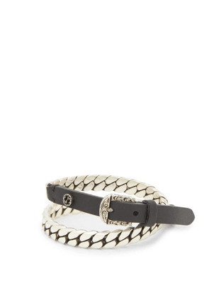 Gucci - Garden Leather And Metal Bracelet - Mens - Silver