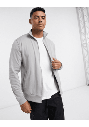 ASOS DESIGN track jacket in grey poly tricot