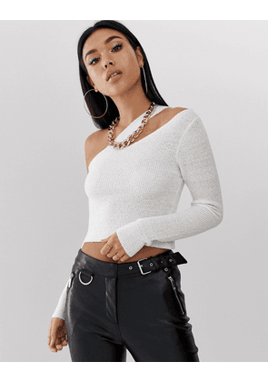 ASOS DESIGN asymmetic knitted top-White