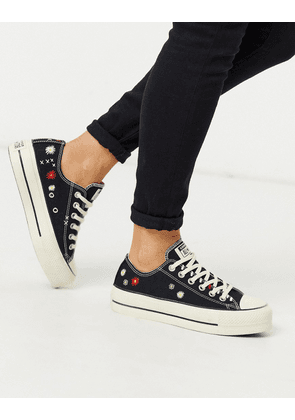 Converse Chuck 70 Lo black leather trainers with embroidered
