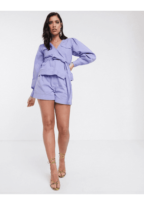 ASOS DESIGN lilac washed short co-ord-Purple